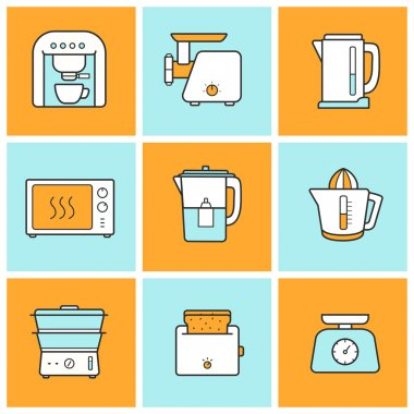 Kitchenware, kitchen equipment  icons set