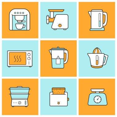Kitchenware, kitchen equipment  icons set
