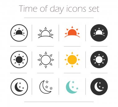 Time, day, night iicons set