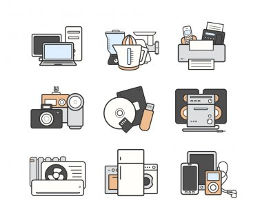 Household devices icons set.