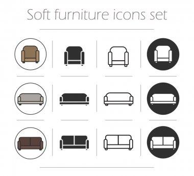 Soft furnishing icons set