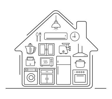 Modern kitchenware icons set