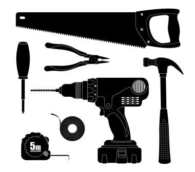 Renovation, repair tools icons