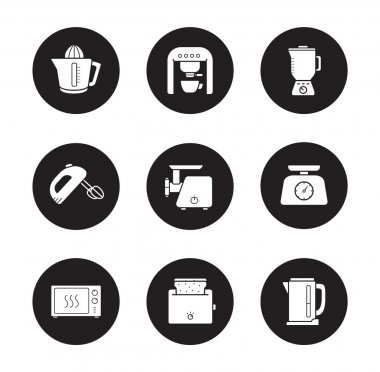 Kitchen electronics icons set