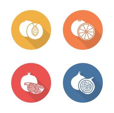 Fruits flat design icons set. Half sliced