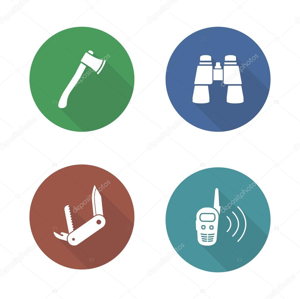 Expedition tools flat design icons set
