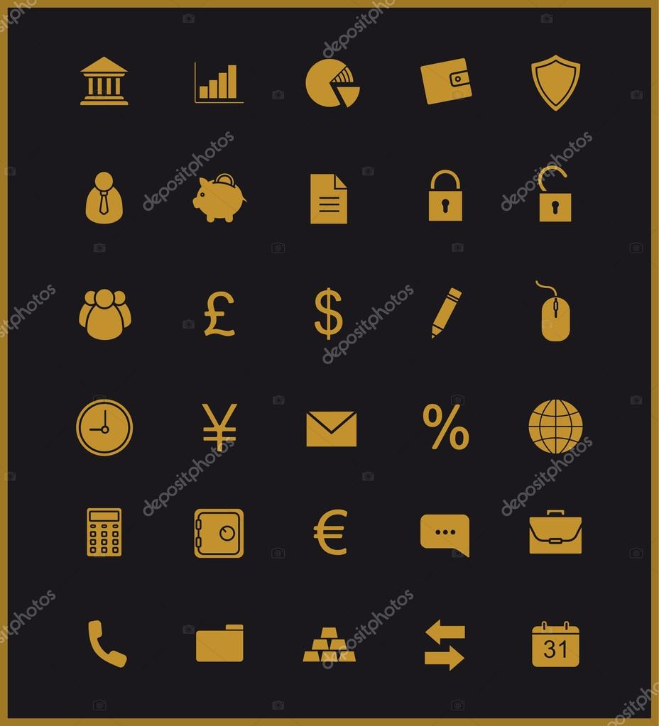 Finance and banking icons set gold stock vector bsd 91648144 gold user interface commercial and business website pictograms bank and stock market vector golden symbols isolated on black vector by bsd biocorpaavc Images