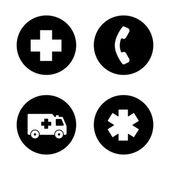Fotografie Ambulance black icons set