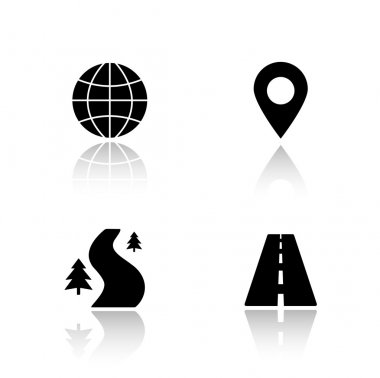 Gps map navigation icons set
