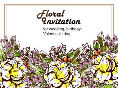 colorful greeting wedding invitation card