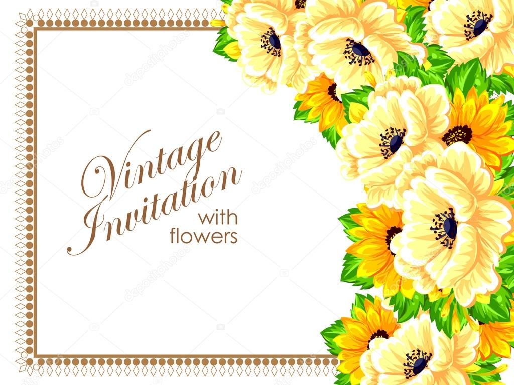 Yellow Greeting Wedding Invitation Card Stock Vector All