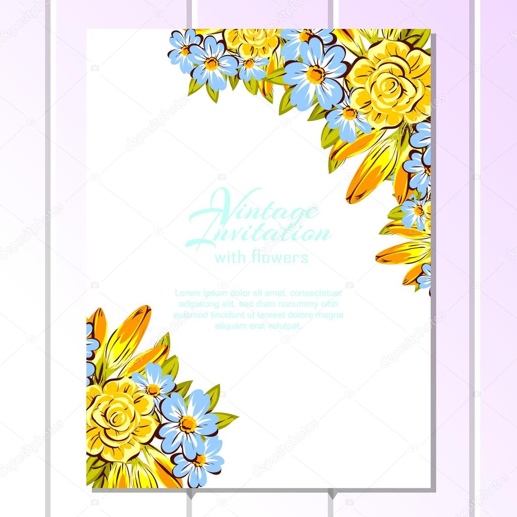 Blue And Yellow Wedding Invitation Card Image Vectorielle All