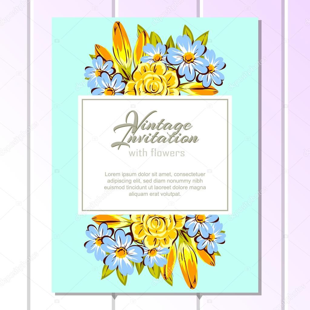 Blue and yellow wedding invitation card vetores de stock all blue and yellow wedding invitation card vetores de stock stopboris Image collections