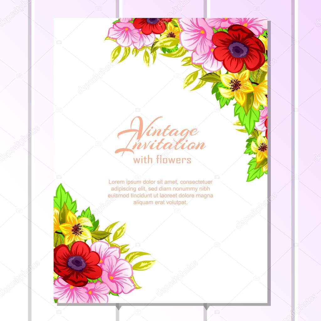 Colorful greeting wedding invitation card stock vector all color wedding card or invitation with abstract floral background greeting postcard in grunge or retro vector elegance pattern with flowers roses floral kristyandbryce Choice Image
