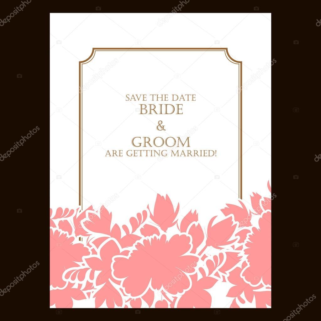 Carte De Mariage Rose Silhouette Ou Invitation Avec Floral Abstrait Voeux Postale Grunge Vecteur Retro Modele Elegance Style Vintage