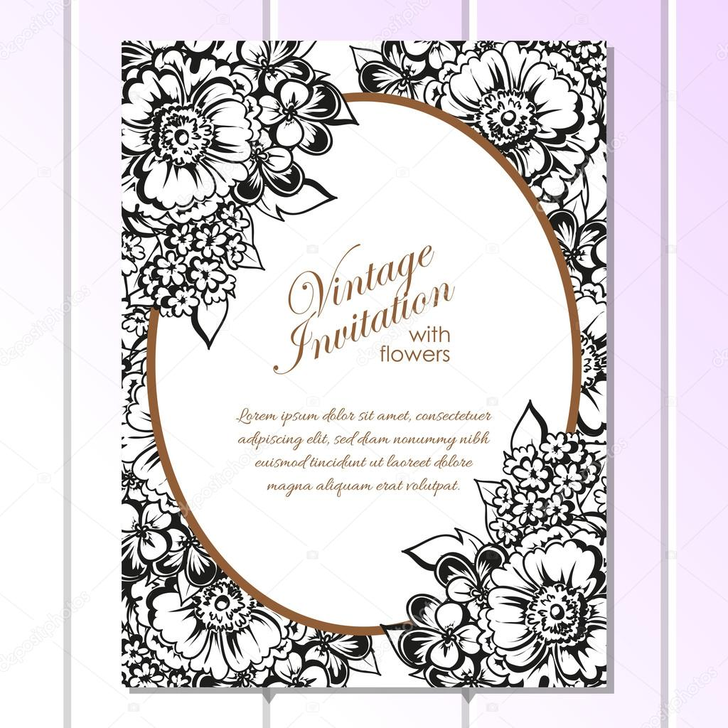 Assez d'invitation de mariage noir et blanc — Image vectorielle #106884736 JS84