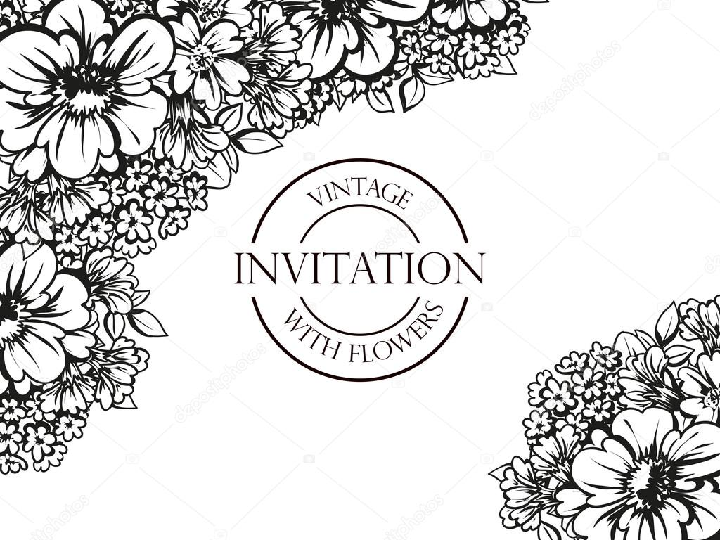 Black and white wedding invitation card stock vector all about black and white linear wedding card or invitation with abstract floral background greeting postcard in grunge or retro vector elegance pattern with flowers stopboris Images