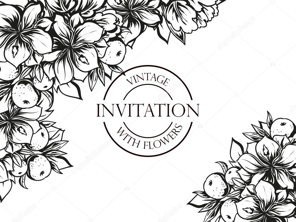 Black And White Wedding Invitation Card Stock Vector All About