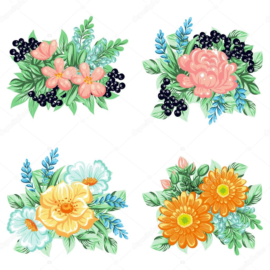 Flower Bouquets Set Stock Vector All About Flowers 108521814