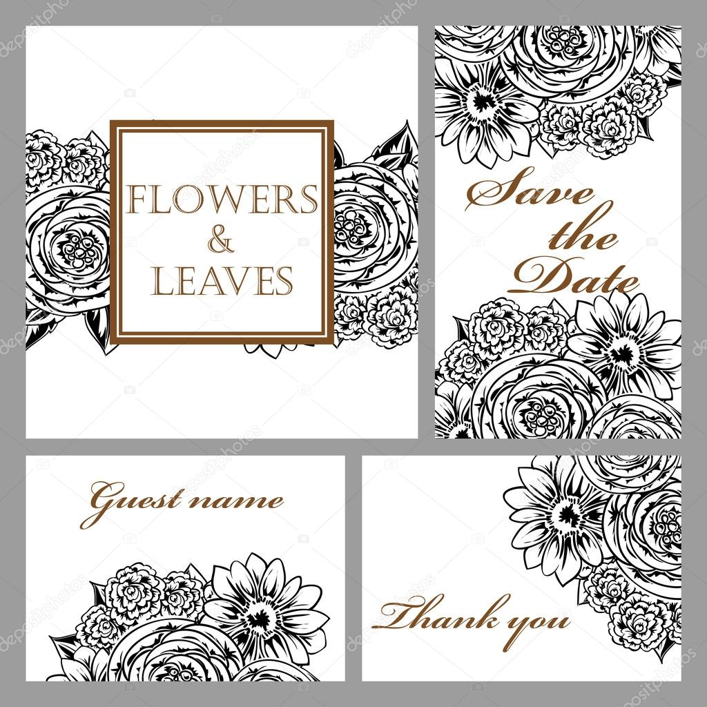 Black and white wedding invitation card stock vector all about black and white greeting wedding invitation card illustration flower vector design concept vector by all about flowers stopboris Images