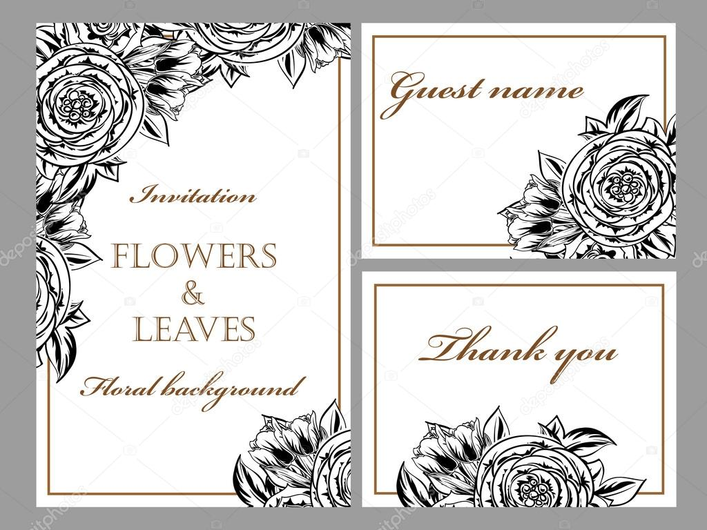 Black and white wedding invitation card — Stock Vector © All-about ...