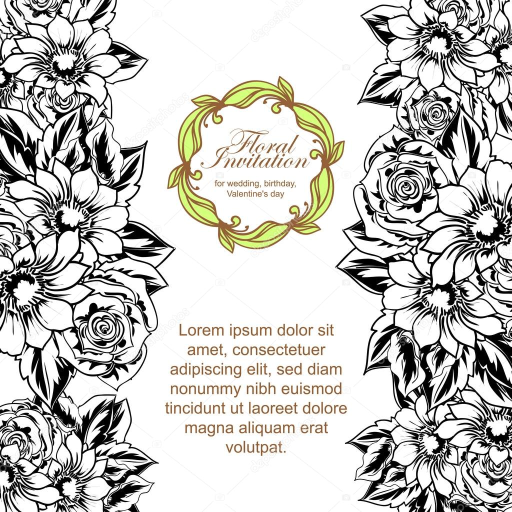 Black And White Beautiful Floral Border Stock Vector All About