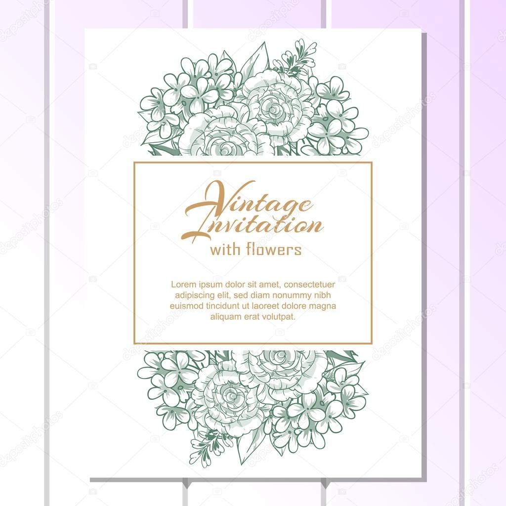 Green linera wedding invitation card vetores de stock all about green linear wedding card or invitation with abstract floral background greeting postcard in grunge or retro vector elegance pattern with flowers floral stopboris Gallery