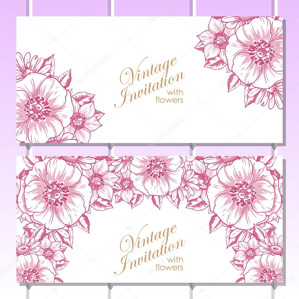 Pink linear greeting invitation card vetores de stock all about pink linear greeting invitation card vetores de stock stopboris Choice Image