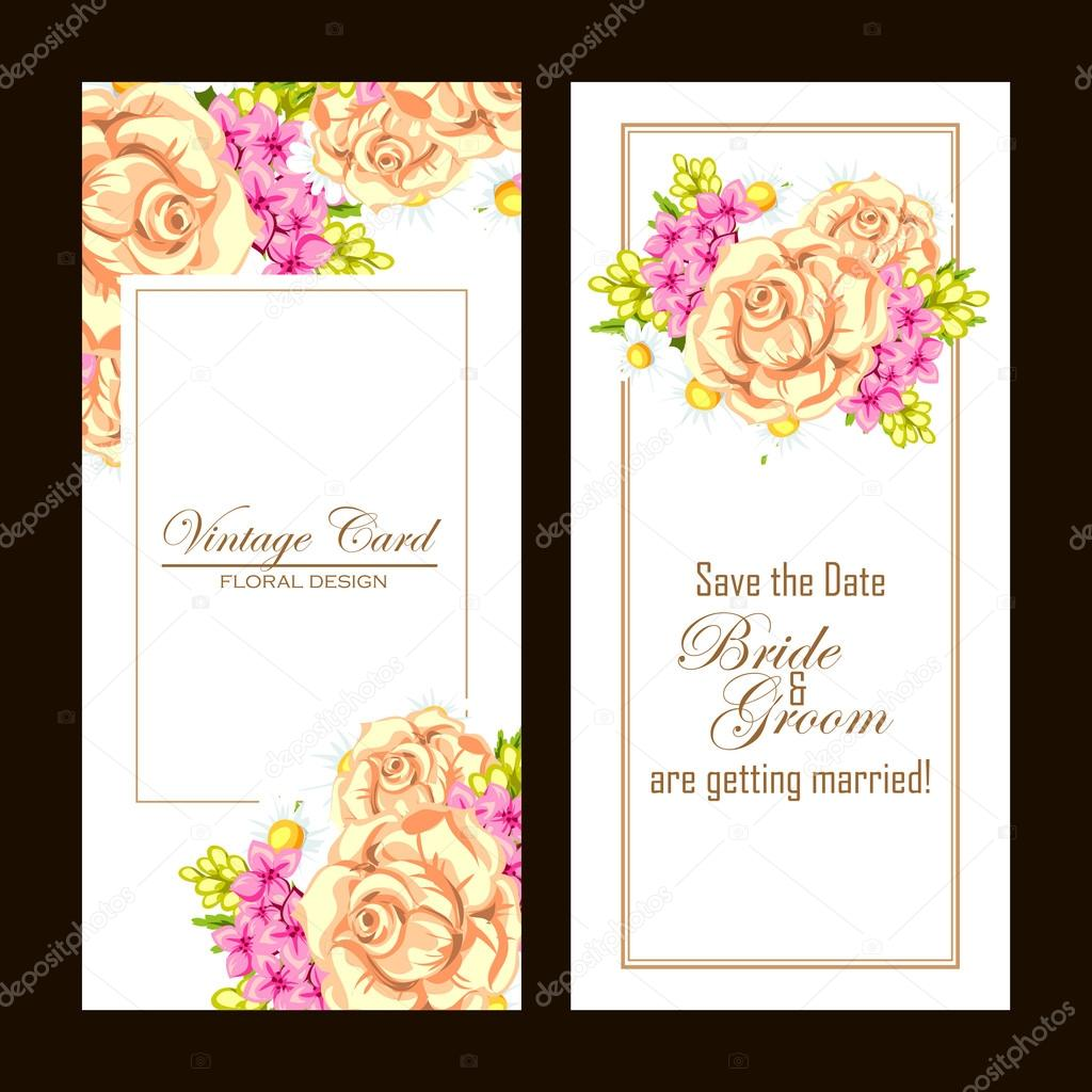 Wedding invitation card — Stock Vector © All-about-Flowers #114307172