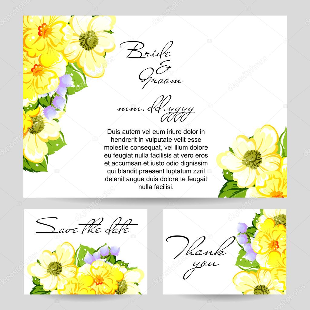 Wedding invitation card — Stock Vector © All-about-Flowers #114309574