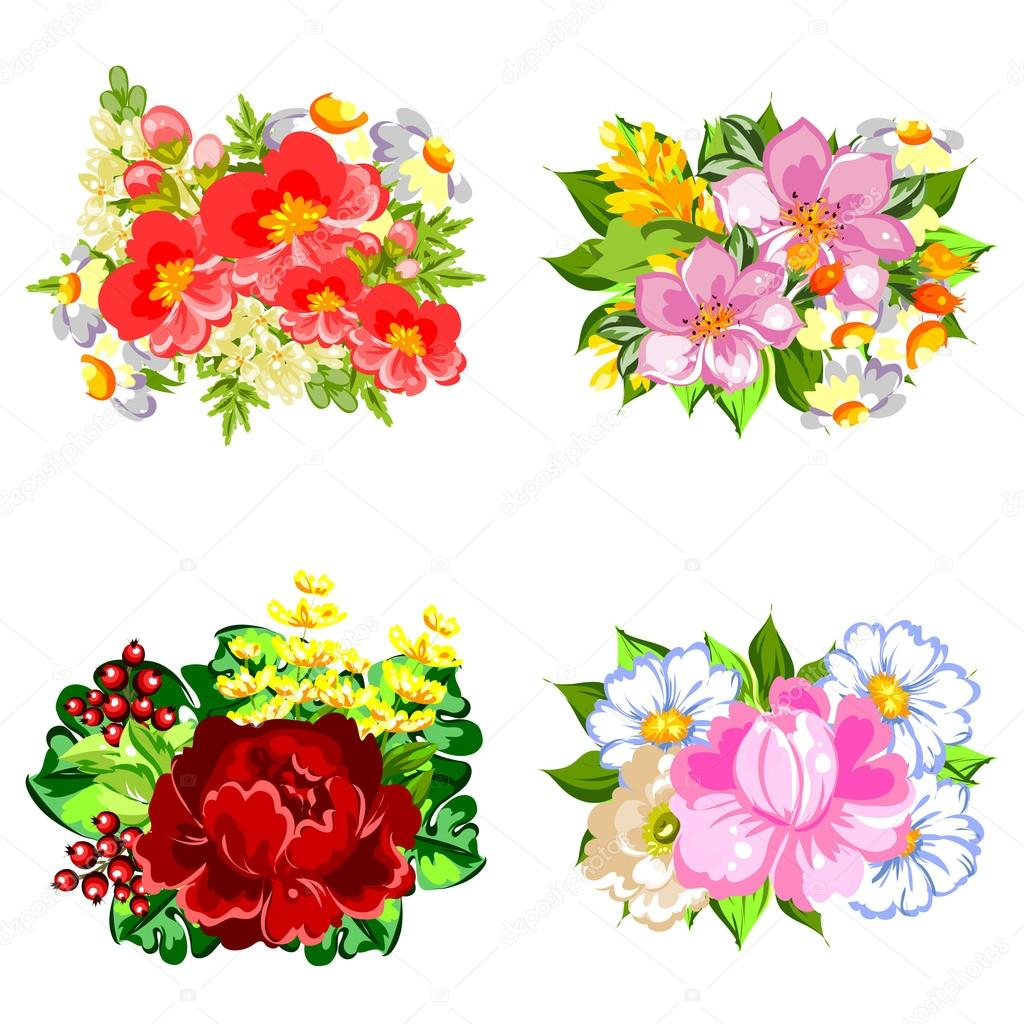 Mazzo Di Fiori Vettoriale.Flower Bouquets Set Stock Vector C All About Flowers 115806566