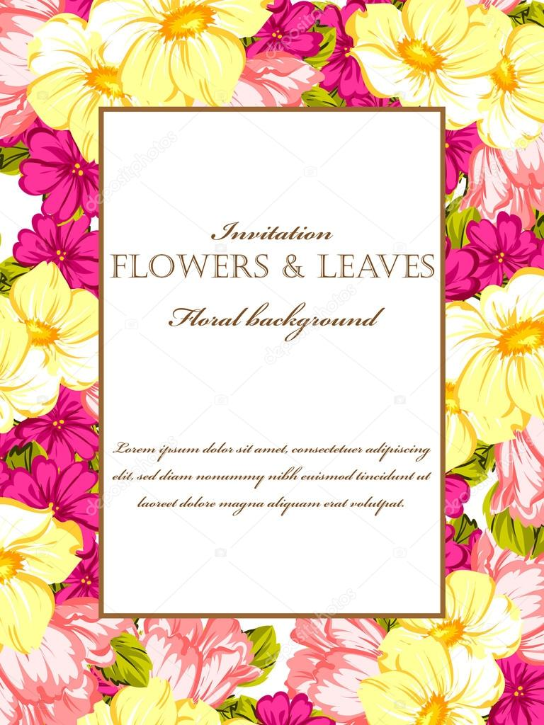 Floral Invitation Template Stock Vector C All About Flowers 115808468