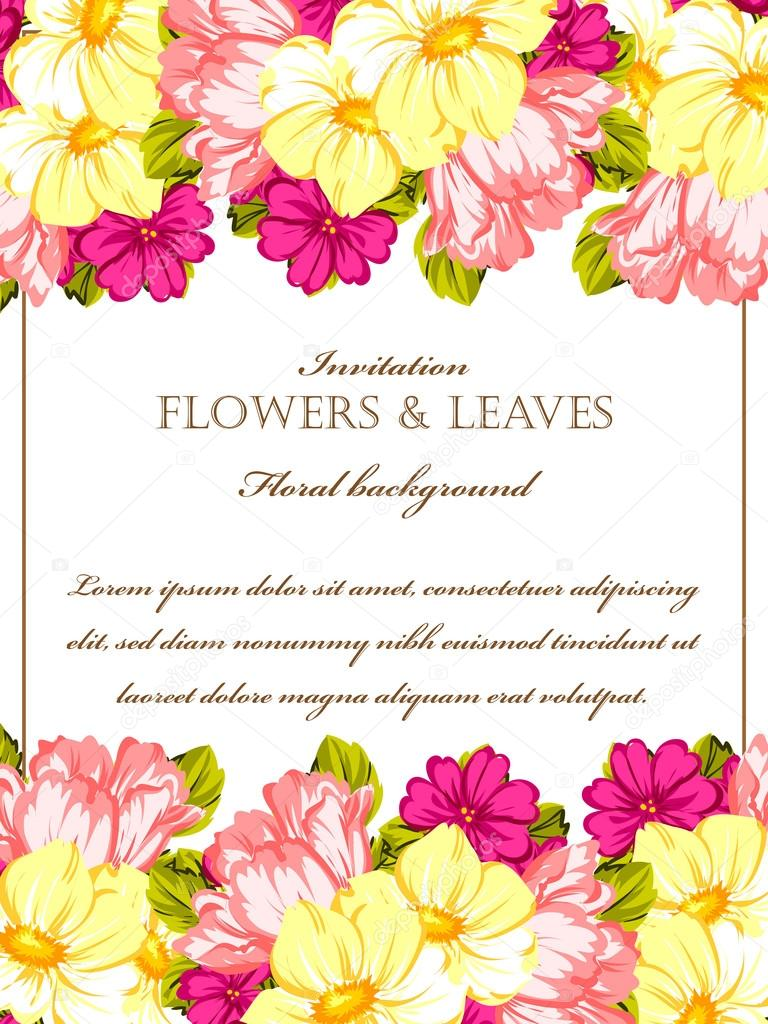 floral invitation template stock vector