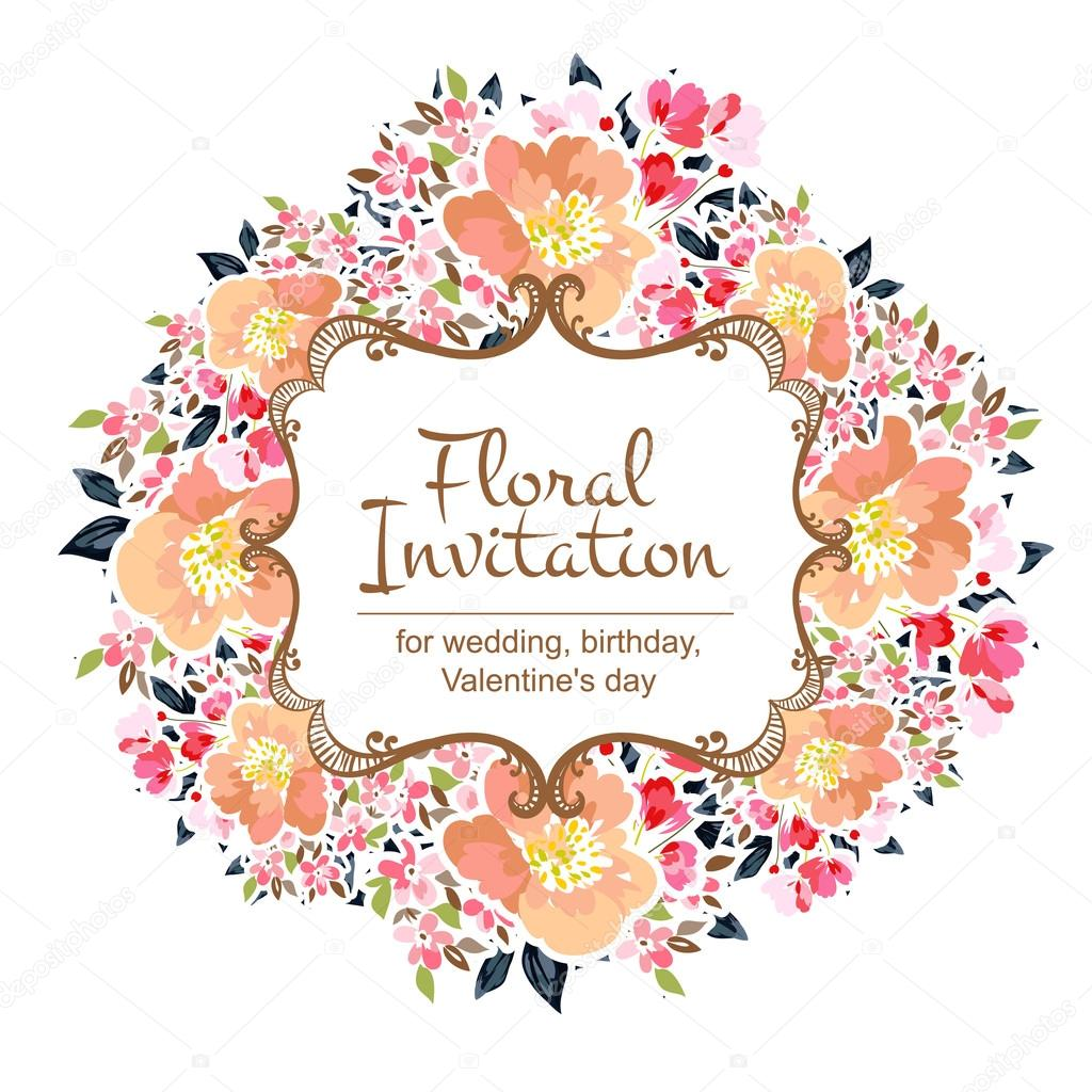 Colorful greeting wedding invitation card stock vector all color wedding card or invitation with abstract floral background greeting postcard in grunge or retro vector elegance pattern with flowers floral kristyandbryce Choice Image