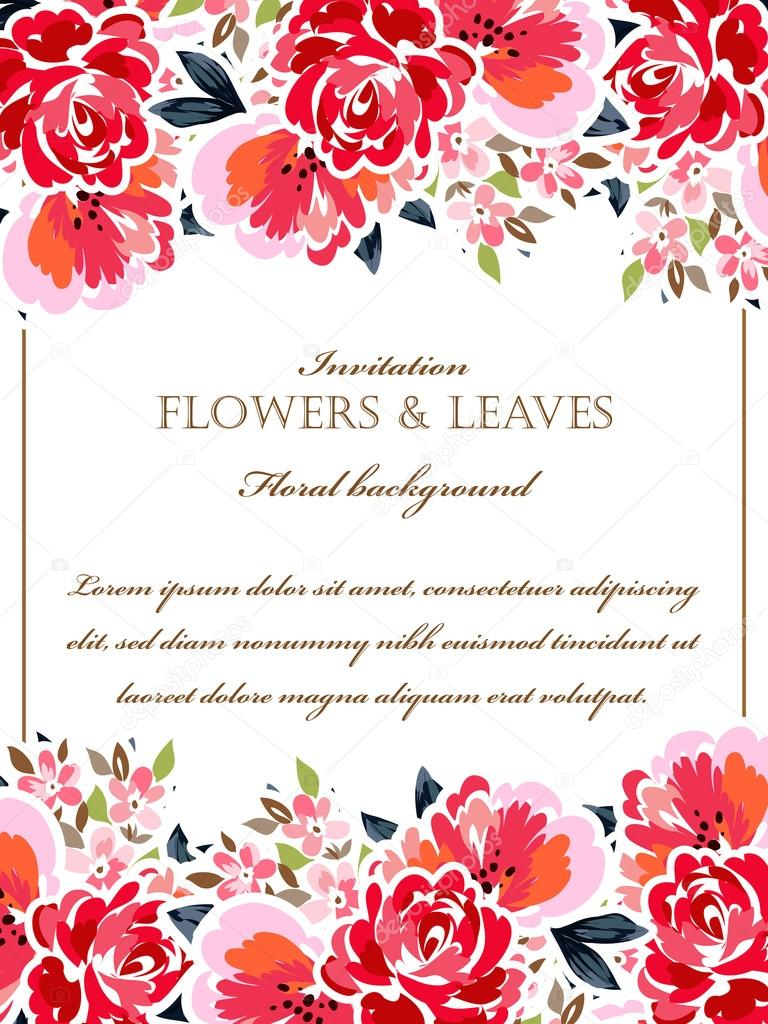 Floral invitation template Stock Vector © All about