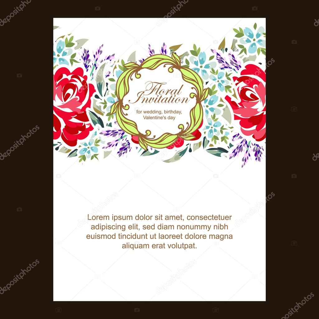 Wedding invitation card — Stock Vector © All-about-Flowers #117072398