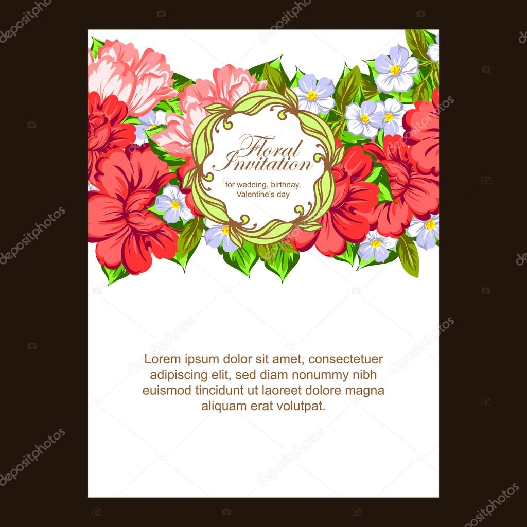 colorful greeting wedding invitation card — Stock Vector © All-about ...