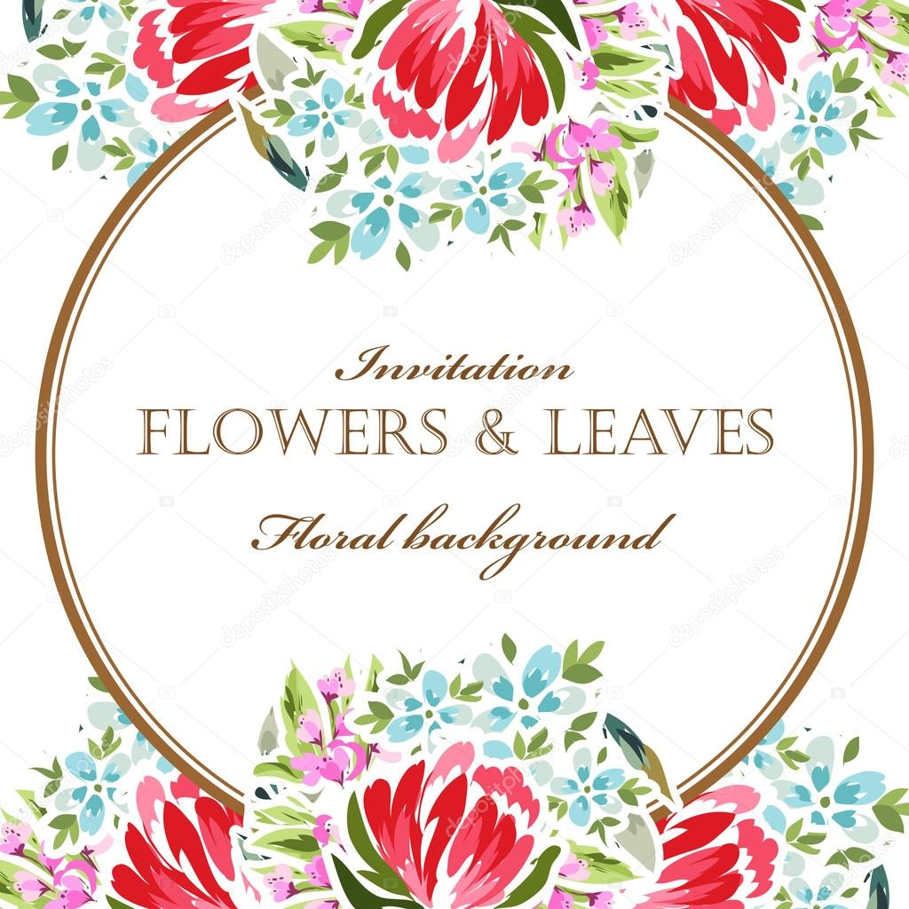 floral invitation template — Stock Vector © All-about-Flowers #117074270