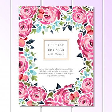 Elegance pattern with colorful tender flowers for vintage invitation template clip art vector