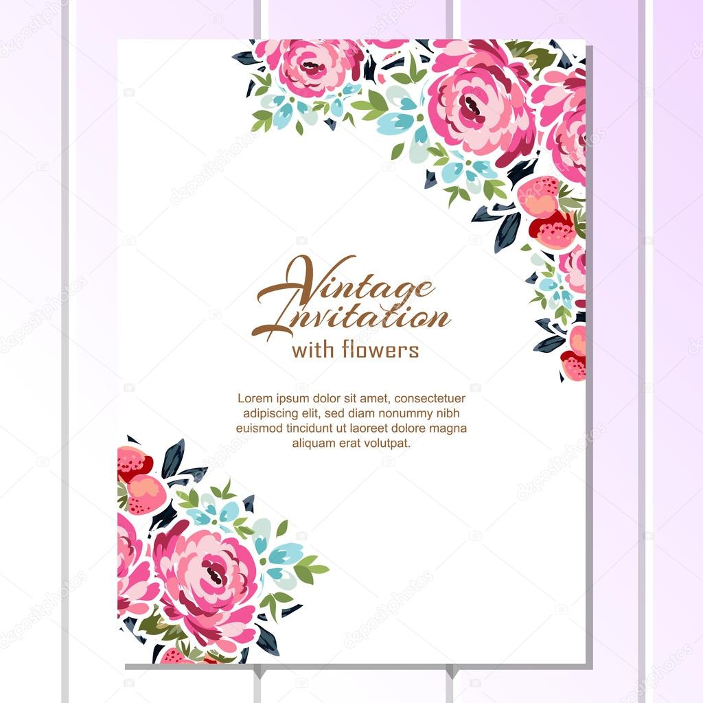 Floral vintage invitation card Stock Vector AllaboutFlowers