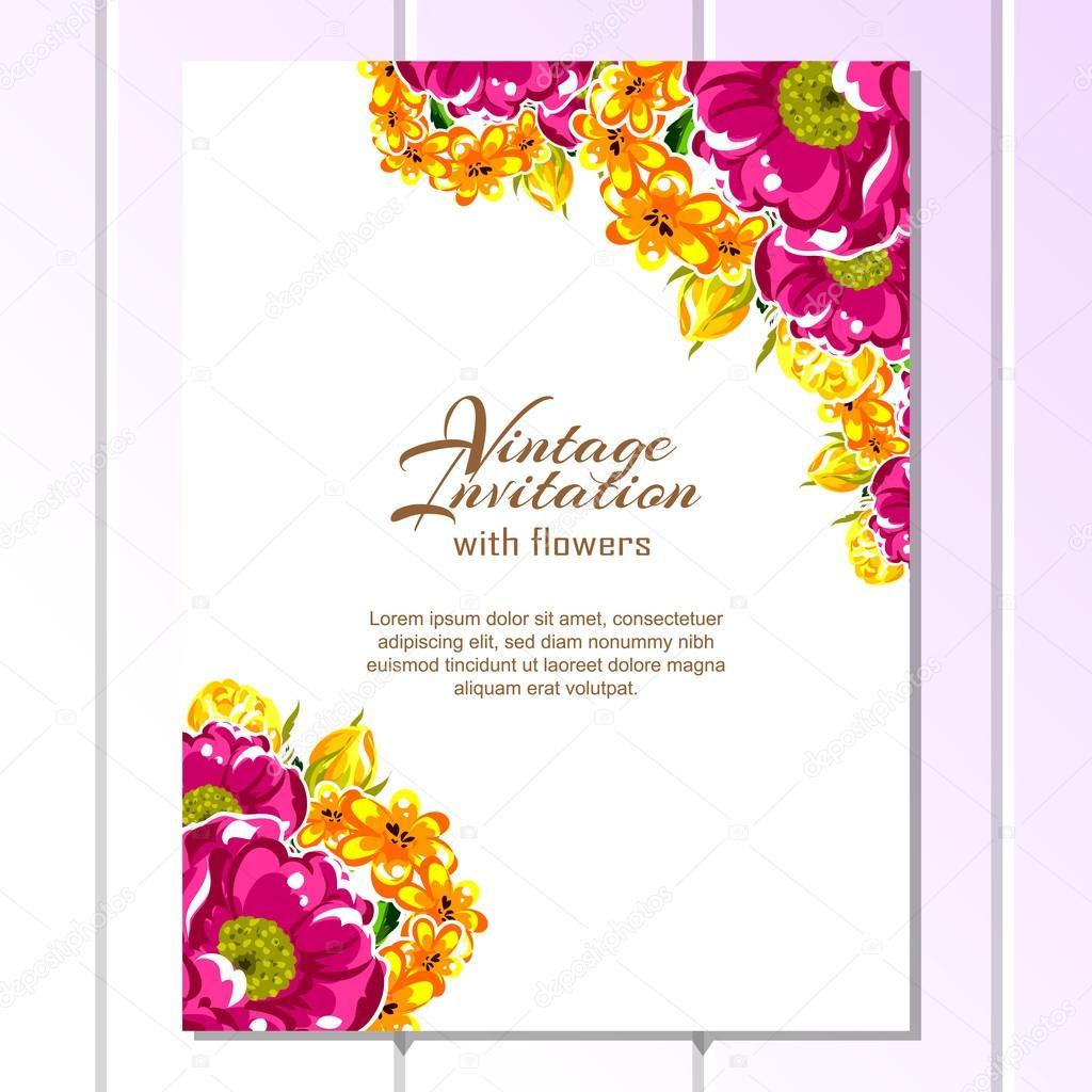 Tarjeta De Invitación Vintage Floral Vector De Stock All