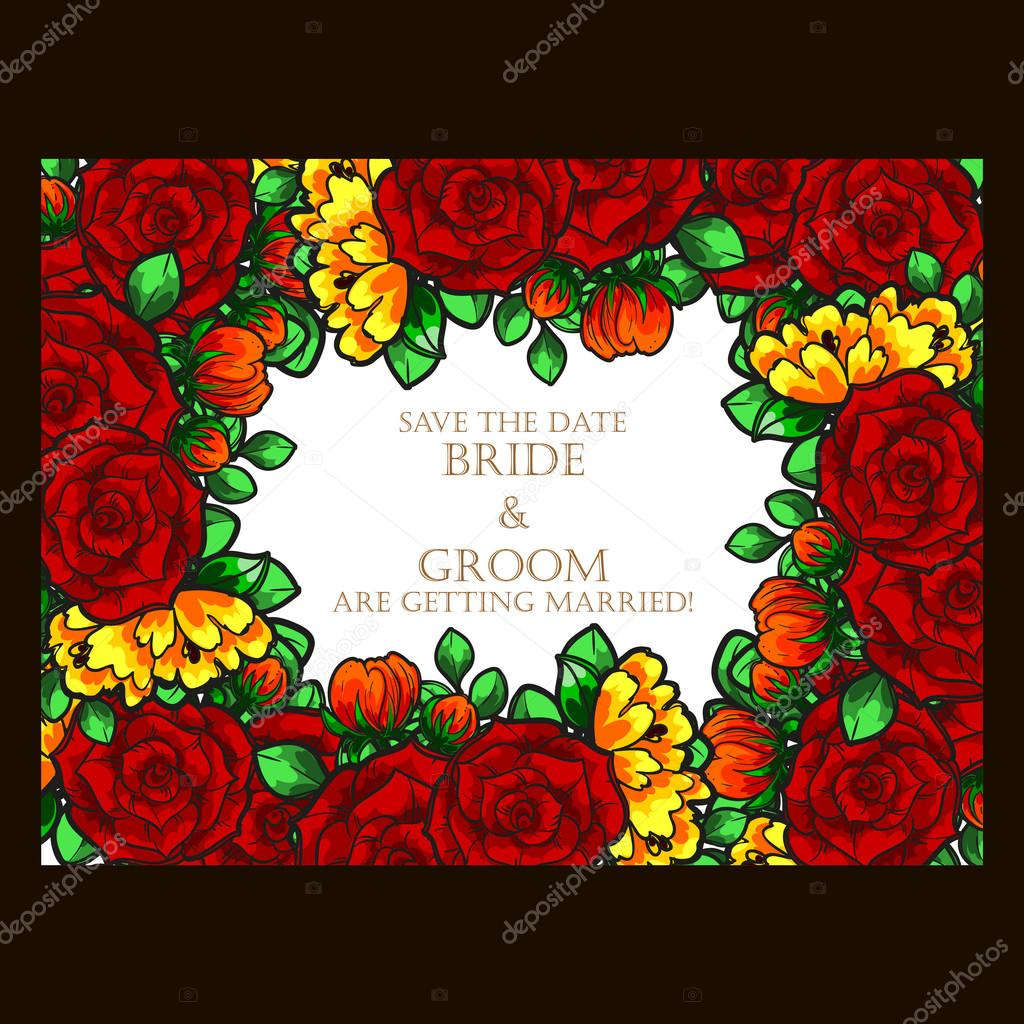 Floral vintage wedding invitation card — Stock Vector © All-about ...