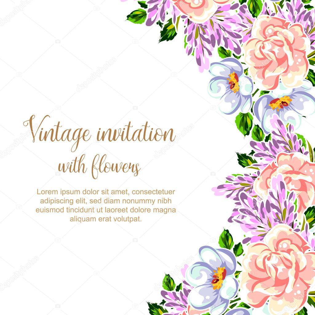 Vector Vintage Flowers Tarjeta De Invitación Vintage