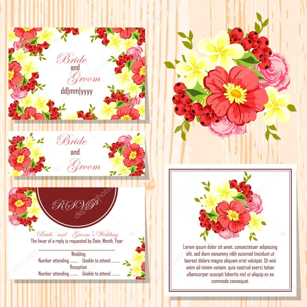 Wedding invitation cards — Stock Vector © All-about-Flowers #60915533