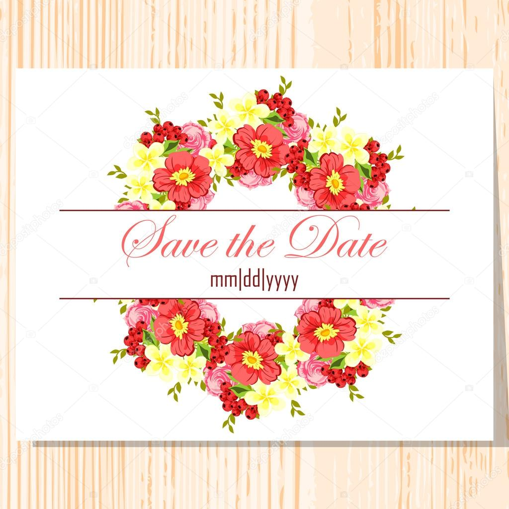 Wedding invitation card — Stock Vector © All-about-Flowers #60915583