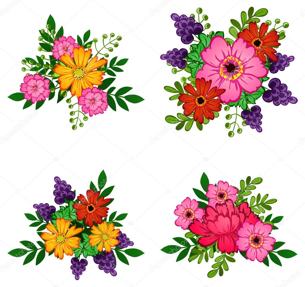 Flower Bouquets Set Stock Vector All About Flowers 65507009