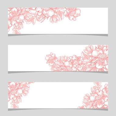 Wedding invitation cards with floral elements clip art vector