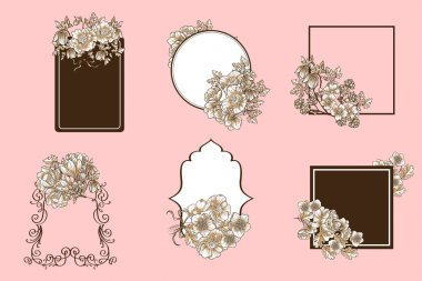 Set of Abstract flowers backgrounds with place for your text clip art vector