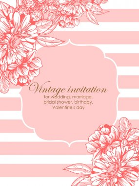 Vintage delicate invitation with flowers for wedding, marriage, bridal, birthday, Valentine's day. Romantic vector illustration. clip art vector