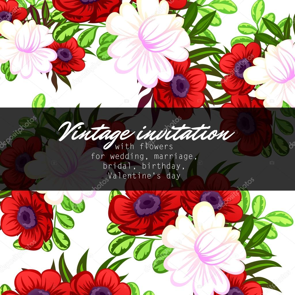 delicate invitation with flowers for wedding — Stock Vector © All ...